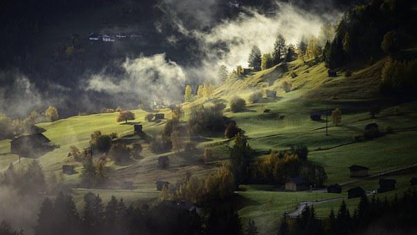 Landscape, Autumn, Fog, Village