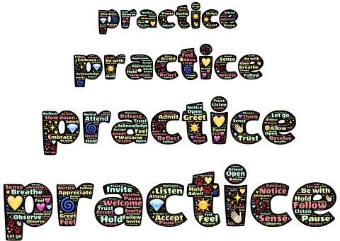 Practice, Emoji, Words, Mindfulness