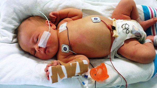 新生児, 病気の, 赤ちゃん, 医療, 健康, 病院, 女の子, 病気, 患者