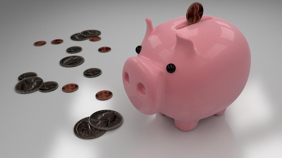 貯金箱, 貯蓄, お金, 銀行, コイン, 通貨, 投資, 豚, 保存, セラミック, グレーの金