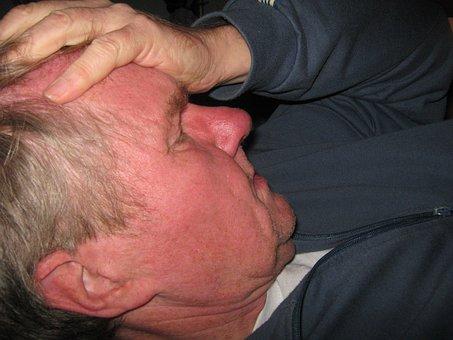 Man Face Hand Keep Forehead Headache High