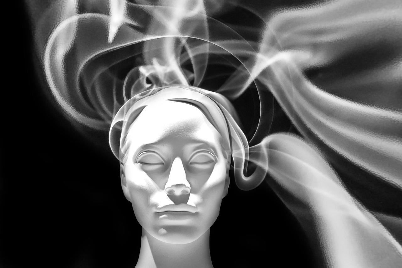 head, face, smoke