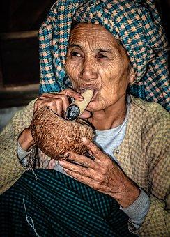 Gezicht, Vrouw, Portret, Myanmar, Birma