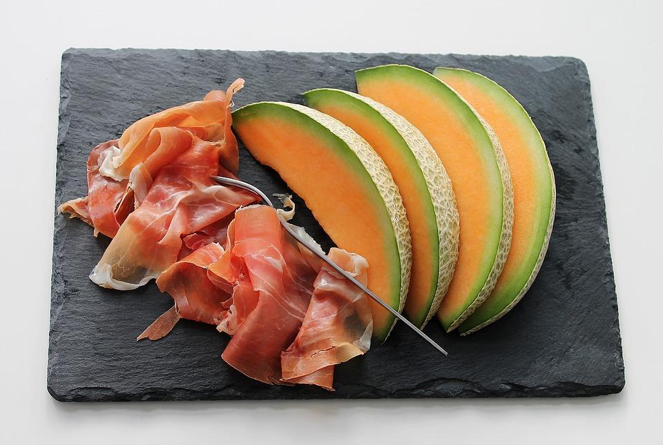Melone, Prosciutto, Frutta, Carne, Cibo