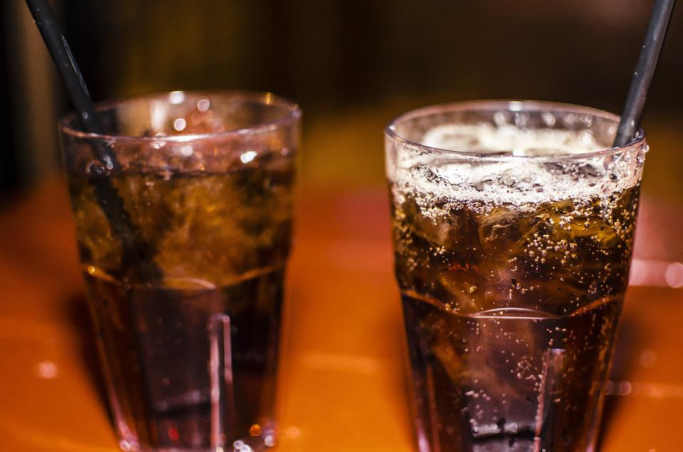 Glasses of bourbon and coke