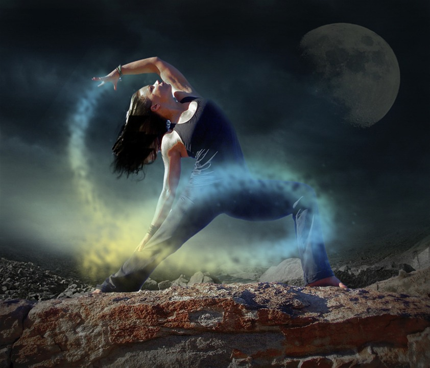 Yoga, Dancer, Woman, Night, Mystic, Scene, Moon Light
