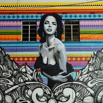 Woman, Painting, Street Art, Grafiti