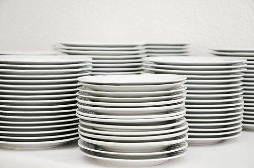 プレート, スタック, 食器, プレートスタック, 白, すすぎ, お皿を洗う