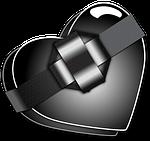 black, heart, valentine