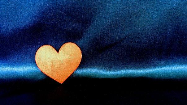 Orange, Coeur, L'Amour, Symbole, Romance