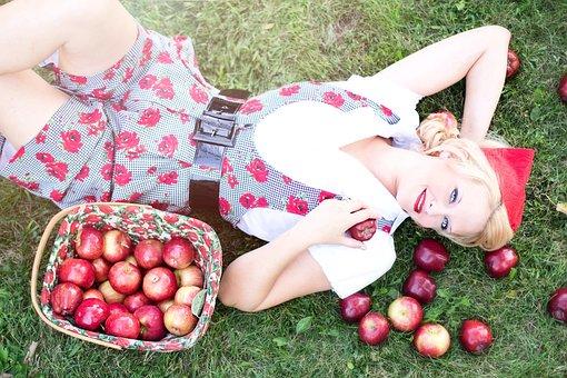 Epler, Kvinne, Vakker, Høst