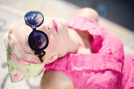 Sommer, Ung Kvinne, Vakker, Solbriller