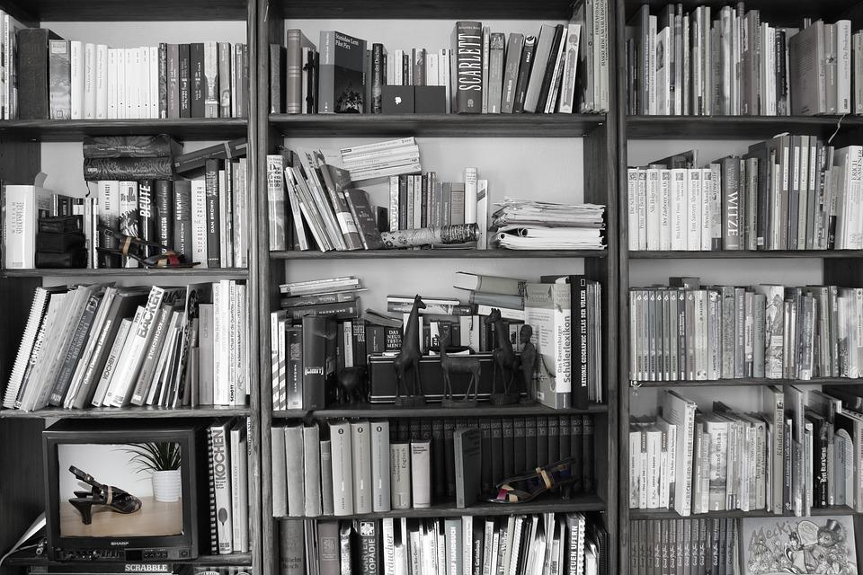 Books shelf retro black and white bookshelf study