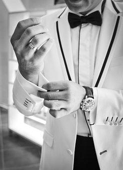 Wedding, Cufflinks, Black And White