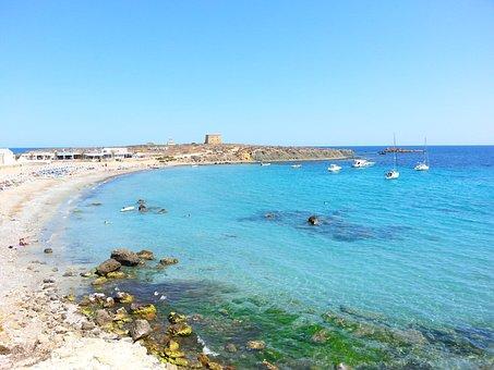 Playa Isla De Tabarca Mar Azul Barco