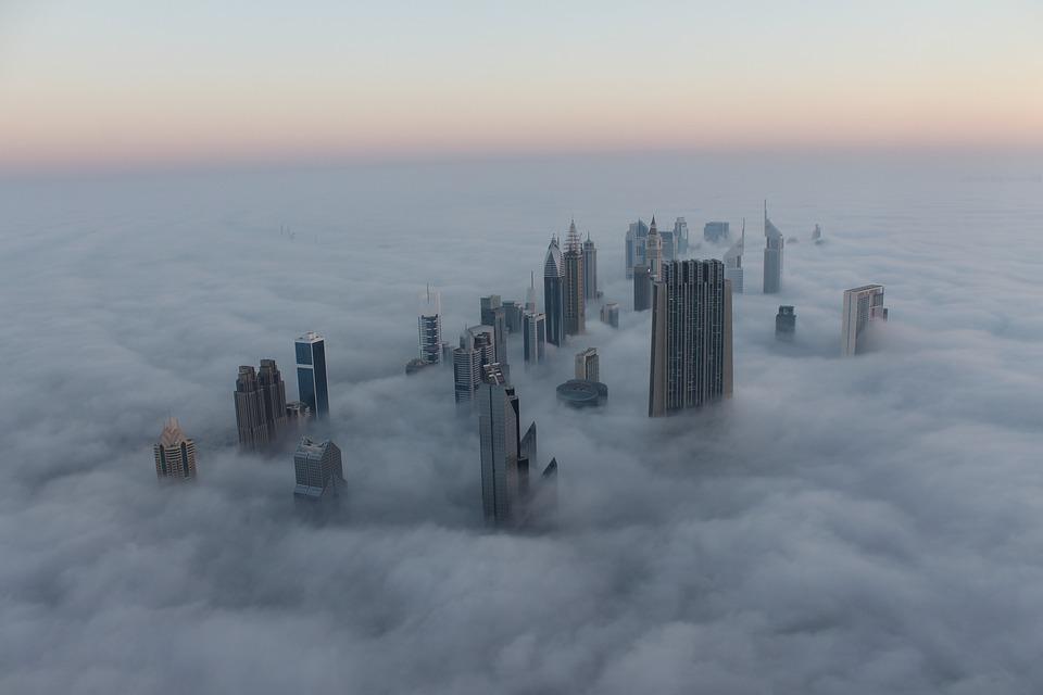 Cityscape, Dubai, Fog, Sunrise, Burj, Uae