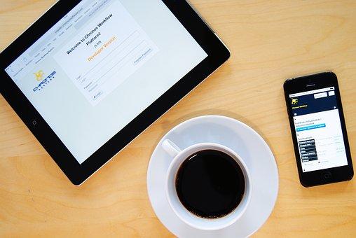 Káve, 办公室, 工作, Iphone, 通信, 移动, 智能手机, 表