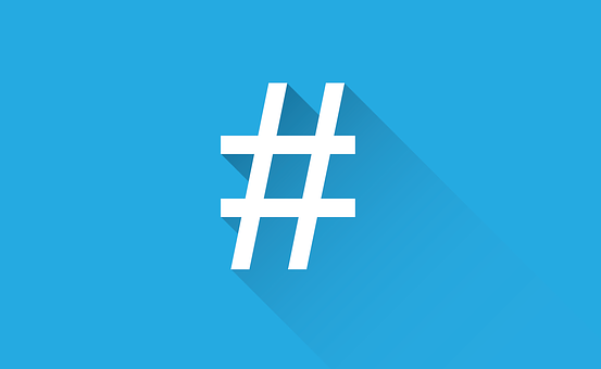 White hashtag sign on a blue background to signify List of 49 benefits of blogging for the blogger and the host blog to make your post go viral