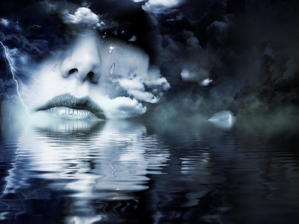 Kobieta, Usta, Chmury, Niebo, Flash, Burza Z Piorunami