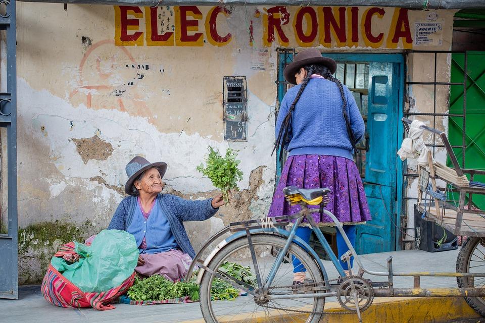 Peru, Kobieta, Stary, Rynek, Ulicy, Podróży, Ludzie