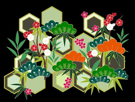 正月, 日本, 和風, 伝統的, 招福, 縁起, 松竹梅, 背景, 和柄, 植物