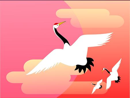 鶴, 朝日, 雲, 新年, 正月, 日本, 和風, 和柄, 伝統的, 縁起