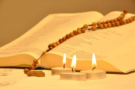 Bible, Candles, Rosary, Third, Faith