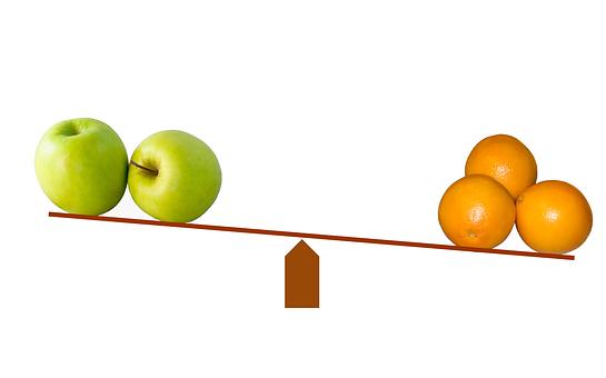 比較, スケール, バランス, リンゴ, オレンジ