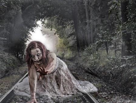 Zombie, Forest, Rails, Gleise, Zombie