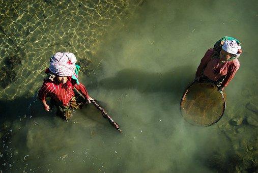 Pesca, Mujer, Nepal, Río, Red, Pobreza
