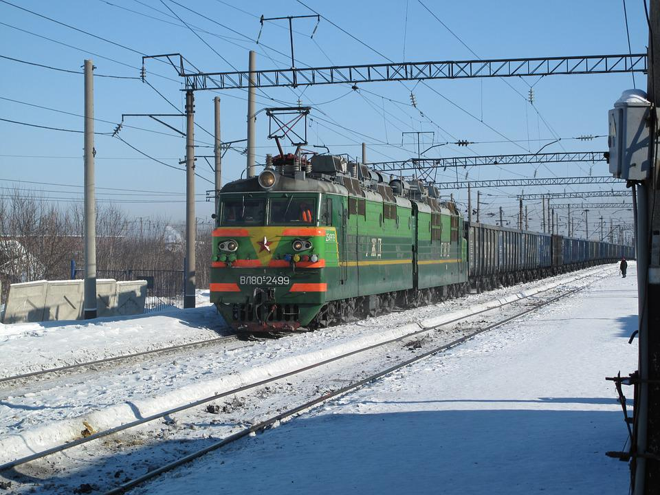Pociąg, Kolej Transsyberyjska, Rosja, Siberia, Zimowe