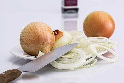 Onion, Slice, Knife, Food, Ingredient