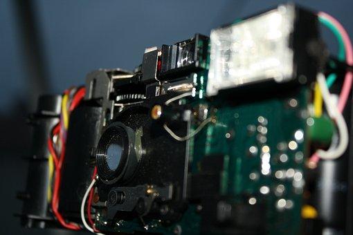 Câmera, placa de circuito, eletrônica, antiga
