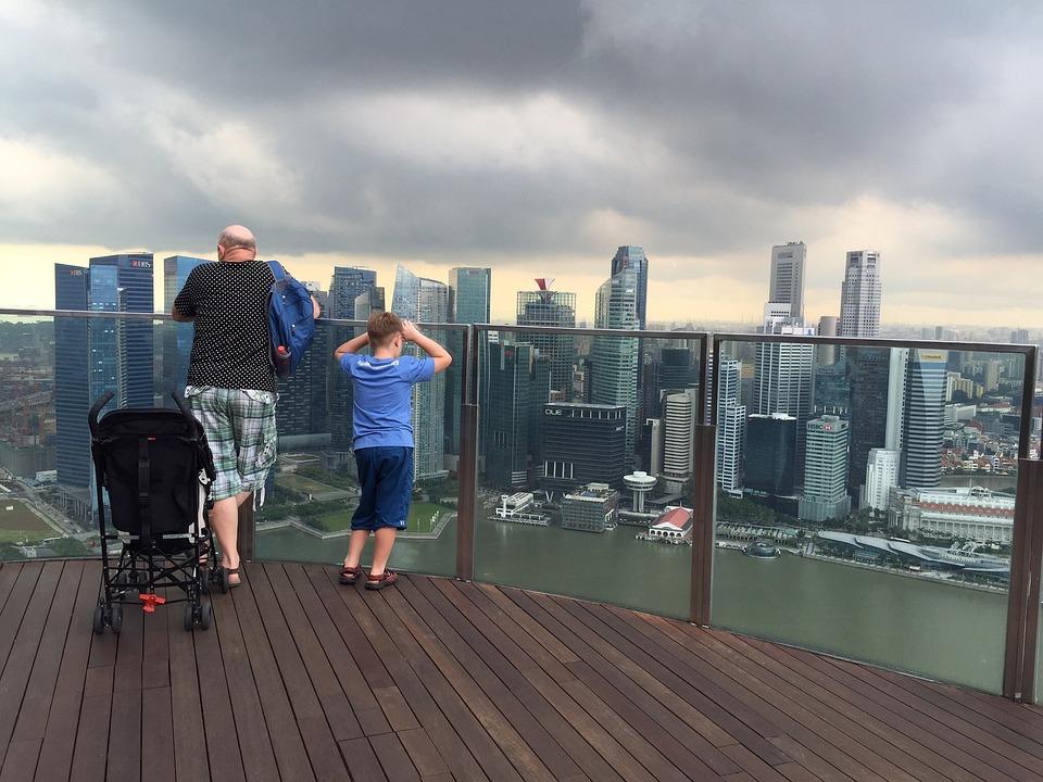 Singapore, View, City, Man, Dad, Child, Tourist, Trip