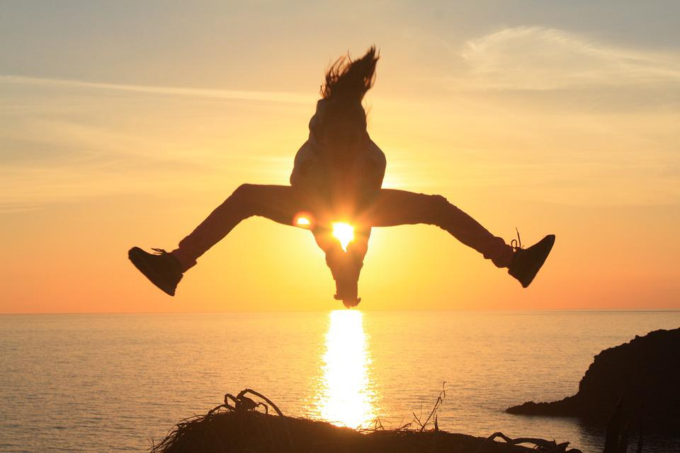free photo backlight silhouette sunset jump free