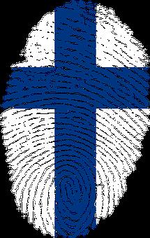 Finlande, Drapeau, Empreintes Digitales