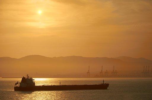 Sunset, Tanker, Oil Tanker, Sea