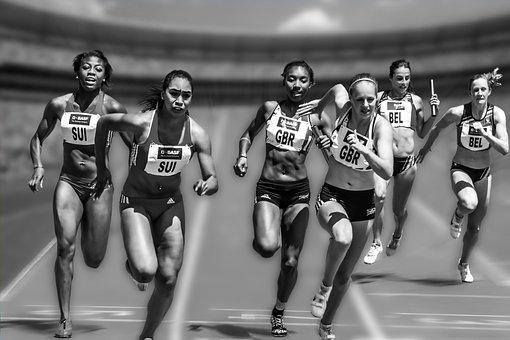 女性, 実行している, レース, 競馬, 運動選手, 女性アスリート