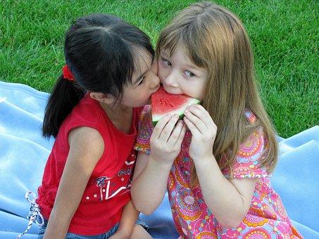 儿童, 播放, 西瓜, 夏天, 女孩, 野餐, 水果, 健康