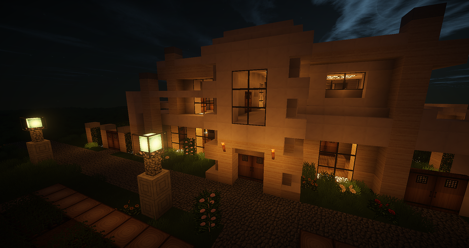 Minecraft Architecture Modern House Exterior Night