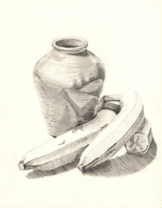 Photo gratuite nature morte bananes vase dessin - Dessin nature morte ...