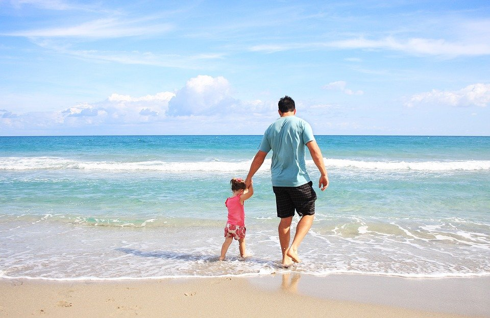 Father, Daughter, Beach, Family, Daddy, Sunny, Vacation