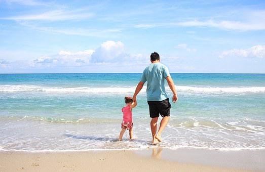 Father, Daughter, Beach, Sea, Family