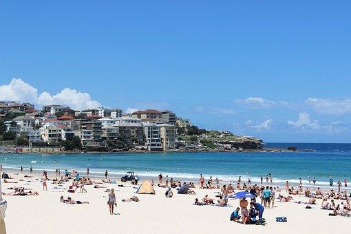 海, ビーチ, オーストラリア, シドニー, ボンダイ ビーチ