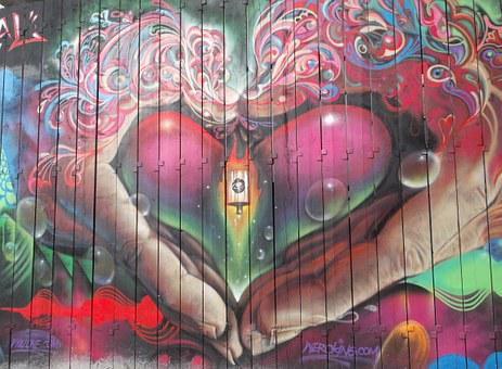Graffiti, Street Art, Heart, Love, Cool