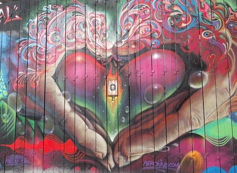 Graffiti, Street Art, Heart, Love, Cool