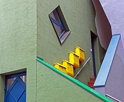 Escalera, Buzón, Color, Colorido