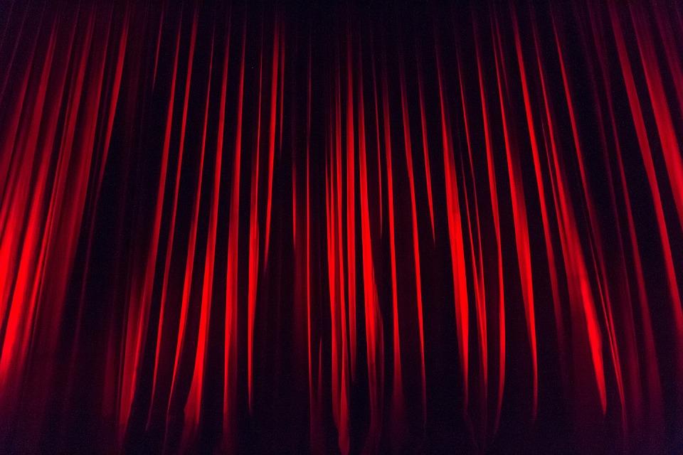 段階のカーテン, カーテン, ステージ, ステージング, 設計段階, 演技, 背景, 表示, 照明, 余興劇場