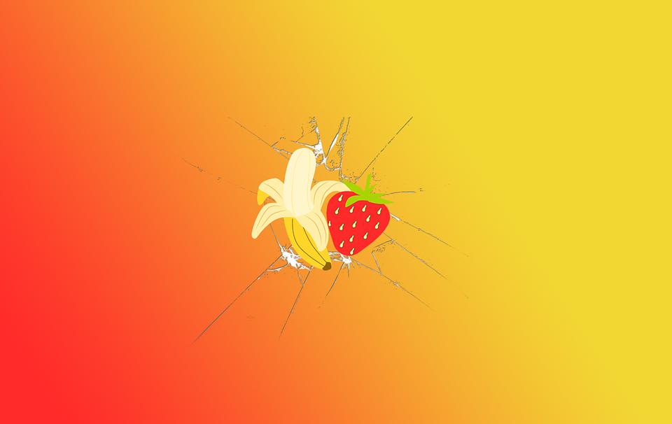 Super Illustration gratuite: Bananes, Fraises, Fond D'Écran - Image  IH16