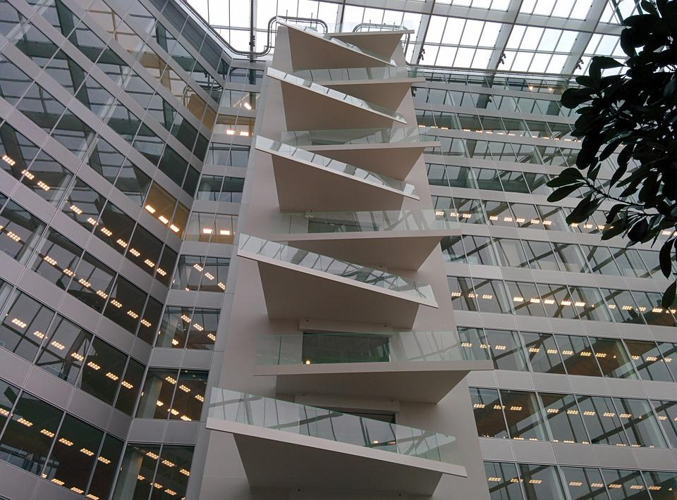 Free photo office staircase modern business free for Modern business buildings